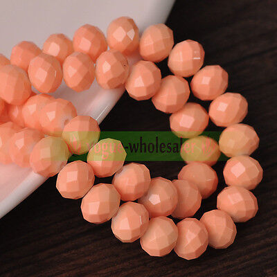 50pcs Peach Pink Coated 8x6mm Rondelle Faceted Craft Glass Loose Spacer Beads