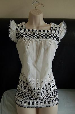 Black and white vintage cotton top with embroidery and ties size UK 10