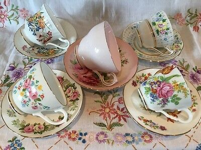 *5 Stunning Vintage Mismatched🌸pink Florals Bone China Tea Cups And Saucers*