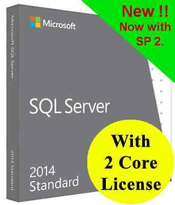 Microsoft SQL Server 2014 Standard with 2 Core License, unlimited User CALs