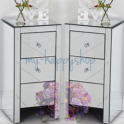 Pair Of 2 Slim Mirrored Bedroom Bedside Table Cabinet Drawer Chest Nightstand UK