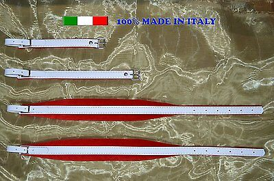 Accordion straps genuine leather and velvet padding 6CM 100% made in Italy