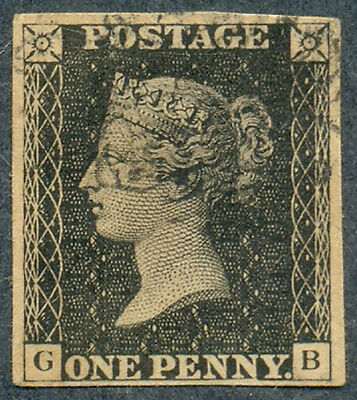 "Great Britain, 1840, 1 Penny, 1st stamp of UK, ""Penny Black"", SC 1, SG 1, Used"