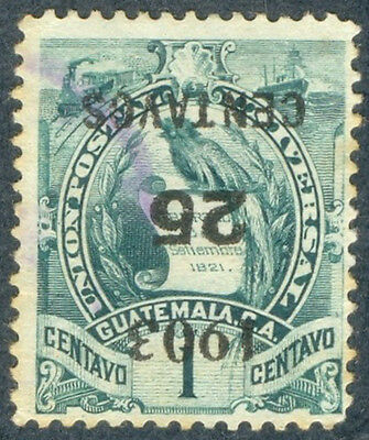 Guatemala 1903, 25 Centavos over 1 Centavo, Inverted Surcharge SC 124a, Used