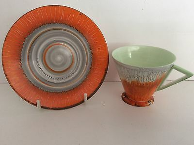 Rare Sheley Art Deco Eve Coffee C/s Orange Harmony