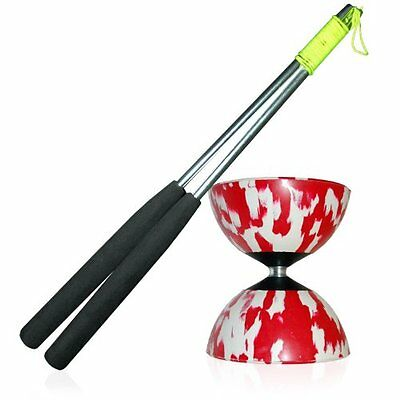 Mr Babache Harlequin Diabolo R/W Set with Aluminium Diablo Hand Sticks