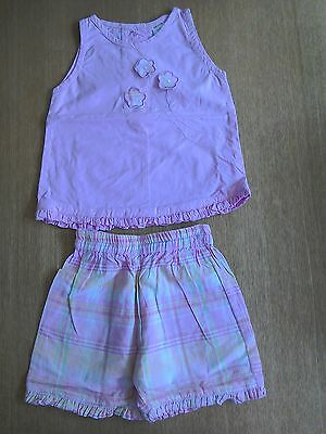 Baby girls pink top and shorts set age 0-3 mths.