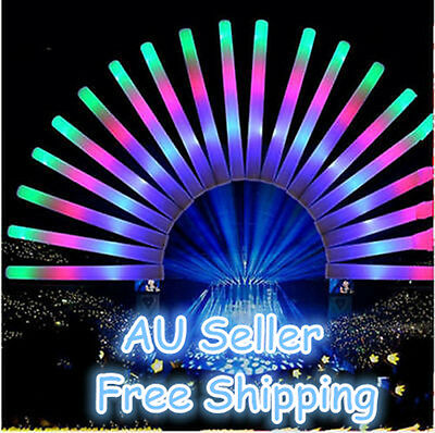 12/15PCS LED Foam Sticks Rally Rave Cheer Light Up Tube Soft Glow Flash Wands