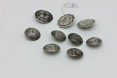 Antique Original Silver Niello Amazing Ottoman Islamic Button Set