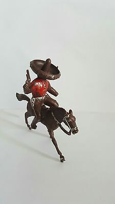 Vintage Plastic Toy Figurine Mexican Bandit on Horse
