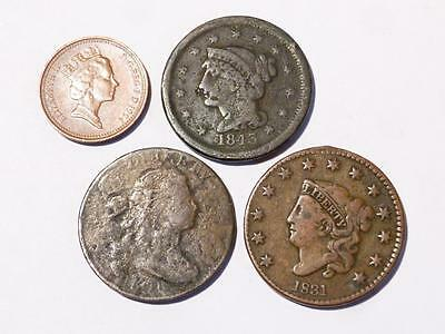 3 x USA 180? - 1831 - 1843 US Large Cents Coins All seen Circulation #T7