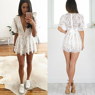 Women Clubwear V Neck Floral Lace Playsuit Bodycon Party Jumpsuit&Romper Trouser