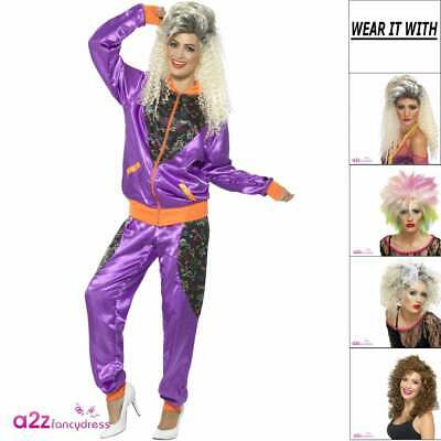 Womens 80's 1980s Retro Shell Suit Trackie Adult Ladies Fancy Dress Costume Wig