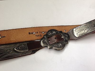 Vintage. Dark Brown Leather Belt. Engraved Metal Sections. Made In France. Heavy