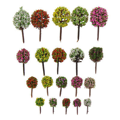 Mixed Flower Train Trees Model Scenery Landscape Layout 30pcs For Architecture