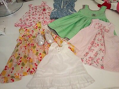 7 baby girl pretty summer dresses and shoes 6-12 months