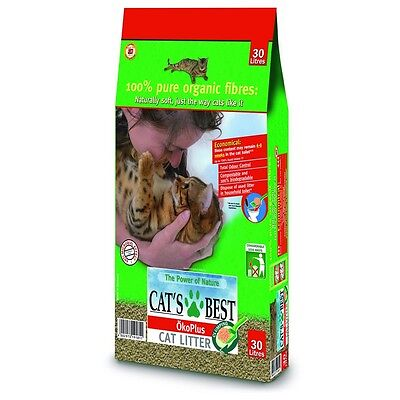 30 LITRES CATS BEST OKO PLUS ORGANIC CAT LITTER 13kg OKOPLUS