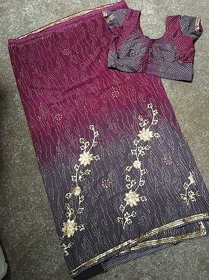 Ladies Stunning Sari With Matching Blouse Size 12-14 Bollywood/party/wedding