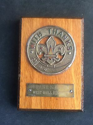 Solid Silver & Wood Cub Scout With Thanks Presentation Plaque West Hull Cubs