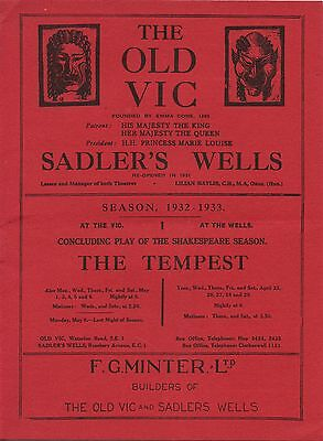 1932 1933 Season.Theatre Programme. The Old Vic & Sadlers Wells. The Tempest.