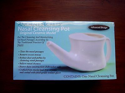 Ceramic NETI POT lead free by ANCIENT SECRETS great design + FREE GIFT