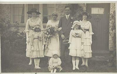 Wedding - Group Outside The House - Maids In Frilled Dresses  Photo Postcard