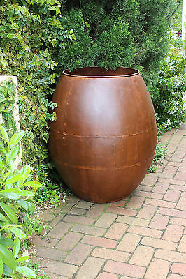Huge Plant Tree Pot Rustic Finish Courtyard Patio Garden Feature Barrel Planter