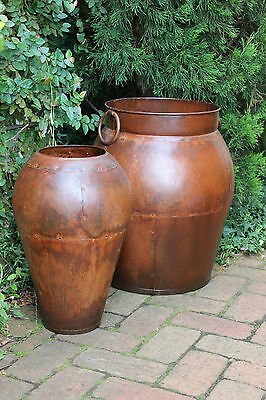 Pair Pot Planters Garden Art Rustic Courtyard Patio Olive Pot & Urn Tuscan Style