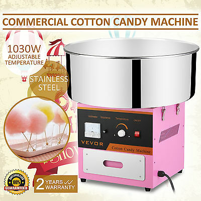 Cotton Candy Machine Floss Maker Stainless Steel 1030W Pink Ce Approved On Sale