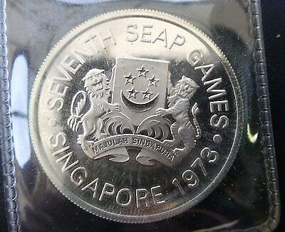SINGAPORE PROOF 5 DOLLAR SILVER 1973. 7th SEAP GAMES. IN CASE OF ISSUE. SCARCE