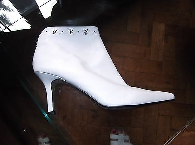 Playboy White Leather Ankle Boots Size 8 Back Zipper