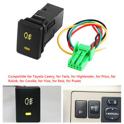 12V Push Switch Yellow LED Fog Light For Toyota Camry Highlander Corolla Prado