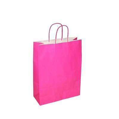 100 x Pink Paper Bags with Twisted Handle - 22cm x 31cm x 10cm (MEDIUM)