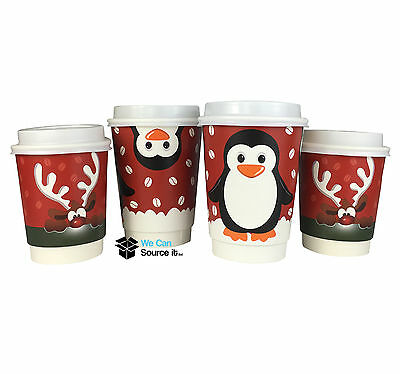 8oz & 12oz Christmas Paper Coffee Cups-2 Different Designs Double Walled