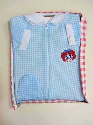 vintage baby playsuit sleepsuit age 3 months large doll red blue gingham 50's bo