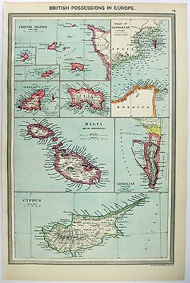 Original Map of The British Possessions in Europe by G Philip & Son c1906