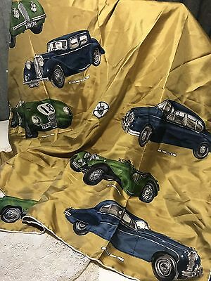 Vintage 100% Silk Italian Scarf Printed with Classic JAGUAR CARS  E-Type, etc
