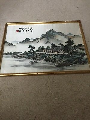Antique Original Silk Embroidered Art With Frame 49x36cm With Signature