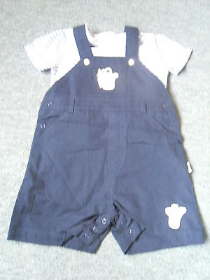 BABY BOYS DUNGAREES & T SHIRT BY MOTHERCARES AGE 3-6 Months