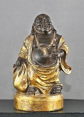 Vintage Nicely Made Japanese Buddha Hotei Decorated w/ Real Gold Leaf