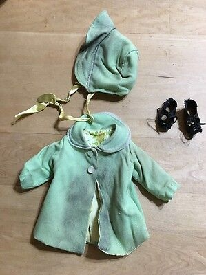 Vintage Mint Green Coat , Bonnet And black Vintage TLC Shoes