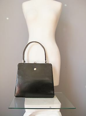 Vintage 50s Made in France by Coblentz Black Leather Kelly Bag