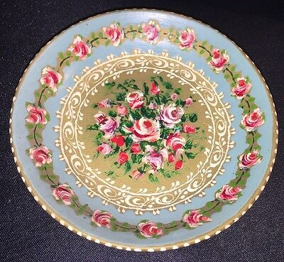 Vintage Rococo Style Antique Hand Painted Rose Gold Leaves Dish Plate