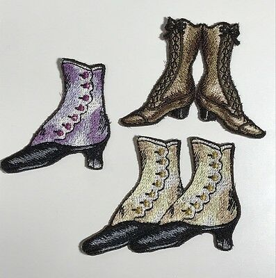 Vintage Shoes & Boots Machine Embroidered Embelishments