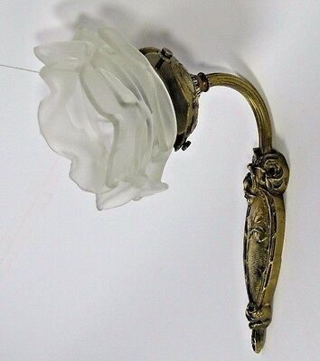 Art Deco Sconce: French Bronze Signed CHARLES RANC Wall Rose Petal Glass Shade