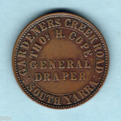 Australia Token. Cope 1862 1d - South Yarra  (Melbourne)..  VF+/VF