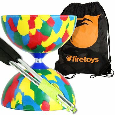 Juggle Dream Jester Diabolo Set Mix, Aluminium Sticks incl. string & Firetoys