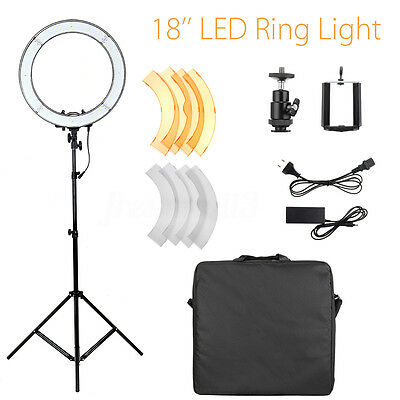 18'' 5500K Dimmable LED Ring Photographic Studio Light + Diffuser Tripod Stand