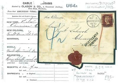 U64a 1872 USA GB TELEGRAPHY Manchester Report US Freight Cable Telegram Germany