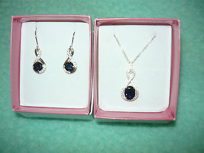 Necklace & Earring Set Sterling Silver 925  Blue Stone Only 4 Weeks Old